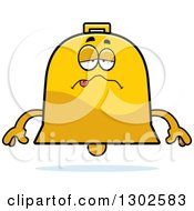 Clipart Of A Cartoon Sick Or Drunk Bell Character Royalty Free Vector Illustration