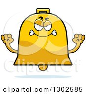 Clipart Of A Cartoon Mad Bell Character Holding Up Fists Royalty Free Vector Illustration