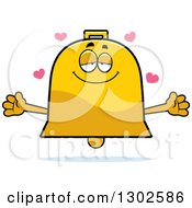 Clipart Of A Cartoon Loving Bell Character With Open Arms And Hearts Royalty Free Vector Illustration