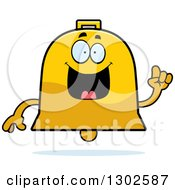 Clipart Of A Cartoon Happy Smart Bell Character With An Idea Royalty Free Vector Illustration