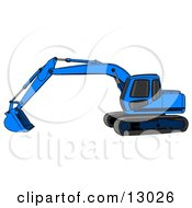 Blue Trackhoe Excavator Clipart Illustration
