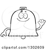 Lineart Clipart Of A Cartoon Black And White Happy Friendly Bell Character Waving Royalty Free Outline Vector Illustration by Cory Thoman