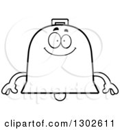 Lineart Clipart Of A Cartoon Black And White Happy Bell Character Smiling Royalty Free Outline Vector Illustration by Cory Thoman