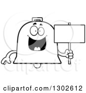 Lineart Clipart Of A Cartoon Black And White Happy Bell Character Holding A Blank Sign Royalty Free Outline Vector Illustration by Cory Thoman
