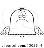 Lineart Clipart Of A Cartoon Black And White Sad Depressed Bell Character Pouting Royalty Free Outline Vector Illustration by Cory Thoman