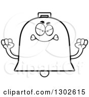 Lineart Clipart Of A Cartoon Black And White Mad Bell Character Holding Up Fists Royalty Free Outline Vector Illustration by Cory Thoman