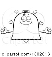 Lineart Clipart Of A Cartoon Black And White Loving Bell Character With Open Arms And Hearts Royalty Free Outline Vector Illustration by Cory Thoman