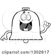 Lineart Clipart Of A Cartoon Black And White Happy Smart Bell Character With An Idea Royalty Free Outline Vector Illustration by Cory Thoman