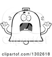 Lineart Clipart Of A Cartoon Black And White Scared Bell Character Screaming Royalty Free Outline Vector Illustration by Cory Thoman