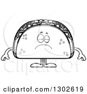 Lineart Clipart Of A Cartoon Black And White Sad Depressed Taco Food Mascot Character Pouting Royalty Free Outline Vector Illustration by Cory Thoman