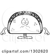 Lineart Clipart Of A Cartoon Black And White Sick Taco Food Mascot Character Royalty Free Outline Vector Illustration by Cory Thoman