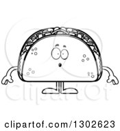 Lineart Clipart Of A Cartoon Black And White Surprised Taco Food Mascot Character Gasping Royalty Free Outline Vector Illustration by Cory Thoman