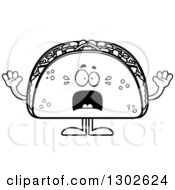 Lineart Clipart Of A Cartoon Black And White Scared Taco Food Mascot Character Screaming Royalty Free Outline Vector Illustration by Cory Thoman