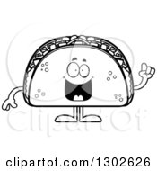 Lineart Clipart Of A Cartoon Black And White Smart Taco Food Mascot Character With An Idea Royalty Free Outline Vector Illustration by Cory Thoman