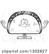 Lineart Clipart Of A Cartoon Black And White Mad Taco Food Mascot Character Holding Up Fists Royalty Free Outline Vector Illustration
