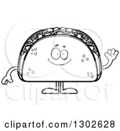 Lineart Clipart Of A Cartoon Black And White Happy Friendly Taco Food Mascot Character Waving Royalty Free Outline Vector Illustration by Cory Thoman