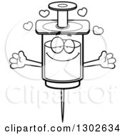 Lineart Clipart Of A Cartoon Black And White Loving Vaccine Syringe Character With Open Arms And Hearts Royalty Free Outline Vector Illustration
