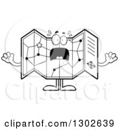 Cartoon Black And White Scared Road Map Atlas Character Screaming