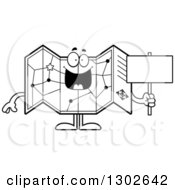 Cartoon Black And White Happy Road Map Atlas Character Holding A Blank Sign