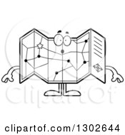Lineart Clipart Of A Cartoon Black And White Surprised Road Map Atlas Character Gasping Royalty Free Outline Vector Illustration