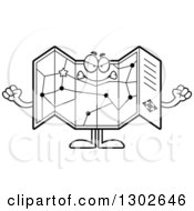 Cartoon Black And White Mad Road Map Atlas Character Holding Up Fists