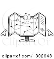 Lineart Clipart Of A Cartoon Black And White Sick Or Drunk Road Map Atlas Character Royalty Free Outline Vector Illustration by Cory Thoman