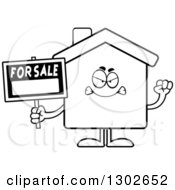 Lineart Clipart Of A Cartoon Black And White Mad For Sale House Holding Up A Fist Royalty Free Outline Vector Illustration by Cory Thoman