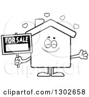 Lineart Clipart Of A Cartoon Black And White Loving For Sale House With Open Arms And Hearts Royalty Free Outline Vector Illustration by Cory Thoman
