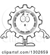 Lineart Clipart Of A Cartoon Black And White Surprised Gear Cog Wheel Character Gasping Royalty Free Outline Vector Illustration