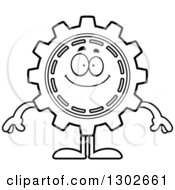 Lineart Clipart Of A Cartoon Black And White Happy Gear Cog Wheel Character Smiling Royalty Free Outline Vector Illustration