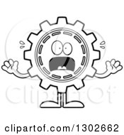 Lineart Clipart Of A Cartoon Black And White Scared Gear Cog Wheel Character Screaming Royalty Free Outline Vector Illustration