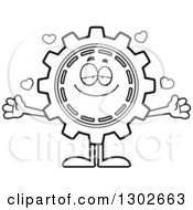 Lineart Clipart Of A Cartoon Black And White Loving Gear Cog Wheel Character With Open Arms And Hearts Royalty Free Outline Vector Illustration