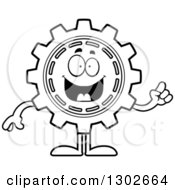 Lineart Clipart Of A Cartoon Black And White Smart Gear Cog Wheel Character Holding Up A Finger Royalty Free Outline Vector Illustration