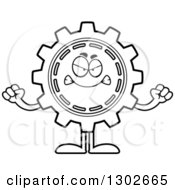 Lineart Clipart Of A Cartoon Black And White Mad Gear Cog Wheel Character Holding Up Fists Royalty Free Outline Vector Illustration