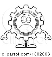 Lineart Clipart Of A Cartoon Black And White Sad Depressed Gear Cog Wheel Character Pouting Royalty Free Outline Vector Illustration