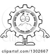 Lineart Clipart Of A Cartoon Black And White Sick Gear Cog Wheel Character Royalty Free Outline Vector Illustration