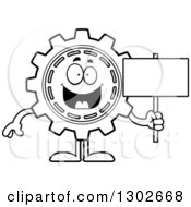 Lineart Clipart Of A Cartoon Black And White Happy Gear Cog Wheel Character Holding A Blank Sign Royalty Free Outline Vector Illustration