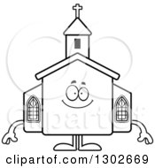 Lineart Clipart Of A Cartoon Black And White Happy Church Building Character Smiling Royalty Free Outline Vector Illustration