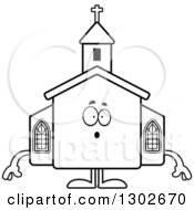 Lineart Clipart Of A Cartoon Black And White Surprised Gasping Church Building Character Royalty Free Outline Vector Illustration by Cory Thoman