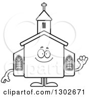 Lineart Clipart Of A Cartoon Black And White Happy Friendly Church Building Character Waving Royalty Free Outline Vector Illustration by Cory Thoman