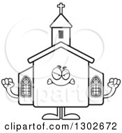 Lineart Clipart Of A Cartoon Black And White Mad Church Building Character Holding Up Fists Royalty Free Outline Vector Illustration by Cory Thoman