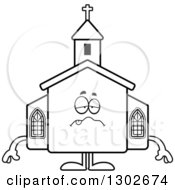 Lineart Clipart Of A Cartoon Black And White Sick Or Drunk Church Building Character Royalty Free Outline Vector Illustration by Cory Thoman