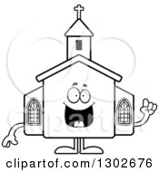 Lineart Clipart Of A Cartoon Black And White Happy Smart Church Building Character With An Idea Royalty Free Outline Vector Illustration by Cory Thoman