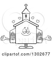 Lineart Clipart Of A Cartoon Black And White Loving Welcoming Church Building Character With Open Arms And Hearts Royalty Free Outline Vector Illustration by Cory Thoman
