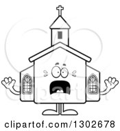 Lineart Clipart Of A Cartoon Black And White Scared Church Building Character Screaming Royalty Free Outline Vector Illustration by Cory Thoman