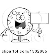 Lineart Clipart Of A Cartoon Black And White Happy Chocolate Chip Cookie Character Holding A Blank Sign Royalty Free Outline Vector Illustration