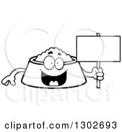 Lineart Clipart Of A Cartoon Black And White Happy Pet Food Bowl Dish Character Holding A Blank Sign Royalty Free Outline Vector Illustration