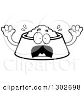 Lineart Clipart Of A Cartoon Black And White Scared Pet Food Bowl Dish Character Screaming Royalty Free Outline Vector Illustration