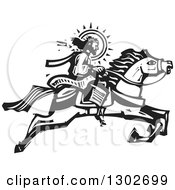 Clipart Of A Black And White Woodcut Jesus Christ Riding A Horse Royalty Free Vector Illustration