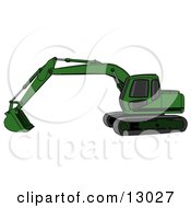Green Trackhoe Excavator Clipart Illustration